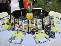 Cheer banquet- framed gift serve as centerpieces and seat markers... double duty! Love this.