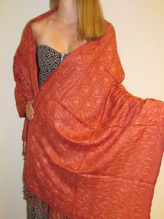 Fall shawls in orange rust embroidered beauty on sale.