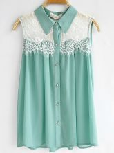 Turquoise Sleeveless Floral Lace Panel Chiffon Pleated Shirt