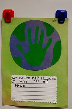 I always do this handprint craft with my kids, but I love the idea of adding their written promises to the art itself! Yay for jazzing up old ideas. earth day crafts for kids, classroom, idea, school, april, educ, kindergarten, teacher, earthday