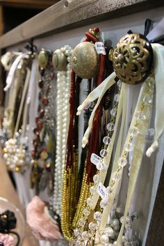 Drawer knobs used as hangers for jewelry