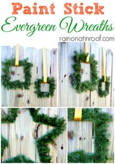 No she didn't!!! Yes, she did!! She made all those wreaths out of PAINT STICKS!! Gorgeous! Paint Stick Evergreen Wreaths via RainonaTinRoof.com