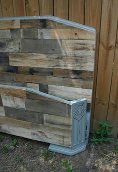 Queen Sized Art Deco Bed With Weathered Pallet Wood. $475.00, via Etsy.