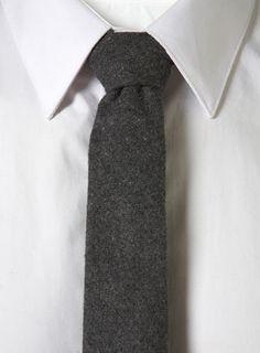 Grey flannel tie.