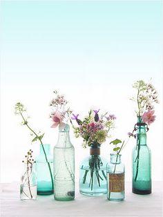 Decoración con botellas de cristal