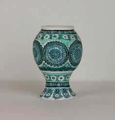 African Blue Wide Neck Vase - Original Miniature Pottery Art by Veny on Etsy, $45.00