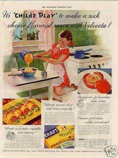 Kraft Velveeta Cheese Color Ad 'it's Child's Play (1938)