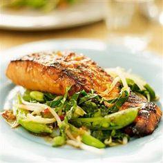 Teriyaki salmon with stir-fry vegetables recipe
