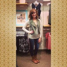 Starting to get in fall apparel!! Love this new cheetah print sweater and the studded combat boots we receives this week!! #first15 #firstfifteen #workwhereyoulovetoshop #store0082 #maurices
