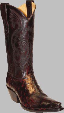 Women's Black Cherry Full Quill Ostrich Boots
