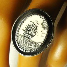 ring - vintage scrimshaw