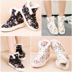 Women's Thicken Warm High Top Canvas Shoes Lace Up Floral High Platform Sneaker