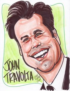 Caricature of John Travolta by www.aaacaricatures.com