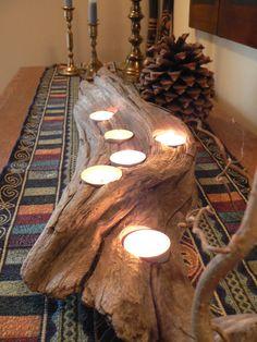 Driftwood, Large center piece, wedding decor, rustic candle holder, Driftwood candle holder, Cabin decor, Rustic Cabin decor