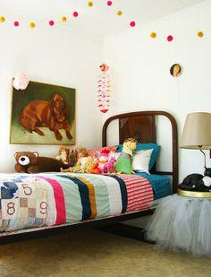 little girl's room little girls, kid rooms, girl bedrooms, kids room art, bedside tables, little girl rooms, pom pom, big girls, dog paintings