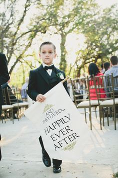 """Ring bearer sign """" and they lived happily ever after""""   http://www.jessicadonofrioweddings.com/"""