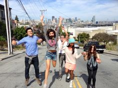I love these people! Quick jump shot on our last day as we rode a trolley through the city.