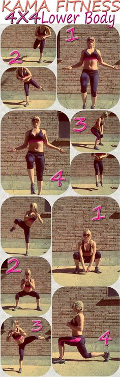 An oldie workout that I'm just about to go do! KILLER Cardio with all that skipping!! :) 4X4 Lower Body Workout   KAMA FITNESS
