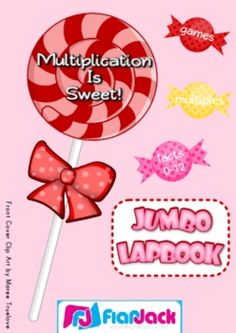 Multiplication Facts 0-12 Jumbo-Lapbook Activities - This is 56-page PDF file for a three file folder lapbook filled with games and activities to help students master the basic multiplication facts from 0-12. And what better theme than yummy candy!! The lapbook can be done in COLOR or B & W.