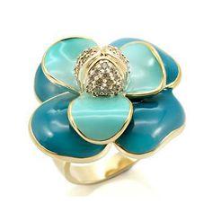Chunky Turquoise Blue Enamel Flower Ring