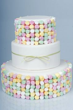 cute cake with little marshmallows on.