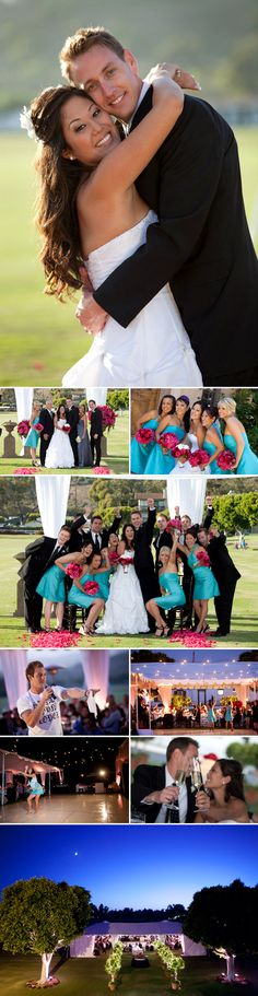 Fuchsia, Turquoise and Black wedding ideas. I really, really like the pink and blue! Lol