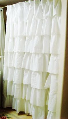 DIY:: Anthro Inspired Ruffled Shower Curtain (out of sheets) Full Tutorial