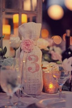 wine bag table numbers