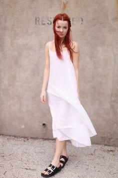 slip dress, dalla, sea, sandal, shoe