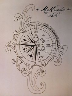 Compass clock tattoo
