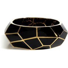 LUCAS JACK Black Art Deco Gold Plated Bracelet found on Polyvore
