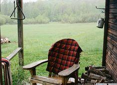 Adirondack chair draped in Pendleton wool.