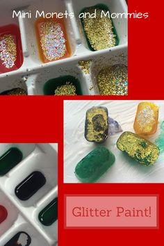 Ice cube melting glitter paint!