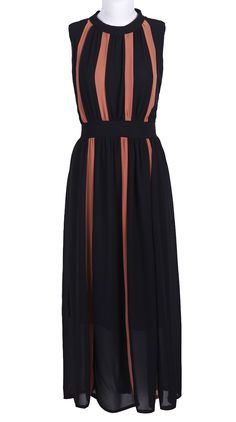 Black Sleeveless Bandeau Pleated Chiffon Dress