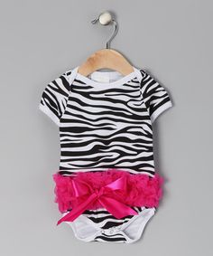 Take a look at this Pink Zebra Ruffle Bodysuit - Infant by Ruffles by Tutu AND Lulu on #zulily today!