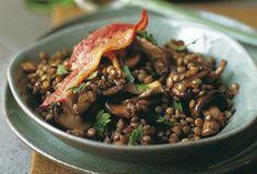 Sautéed Bacon, Mushrooms, and Lentils