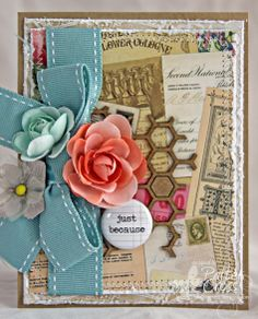 Card by Patter Cross using Blue Fern Studios Bits of Honey chipboard and Blue Fern Garden Calling Cards paper.