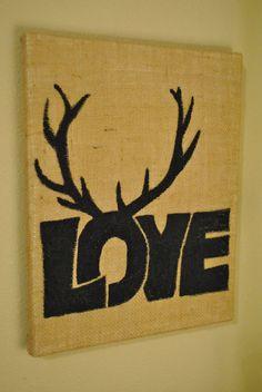 Love Inspired  Burlap Antler Art by TLNCreations on Etsy, $25.00