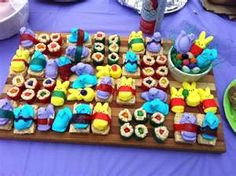 Easter Sushi! Use jelly beans, peeps, rice crispy treats, and fruit roll ups.