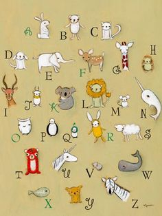 """Alphabet Zoo"" artwork for kids rooms by Creative Thursday by Marisa for Oopsy daisy, Fine Art for Kids $119"
