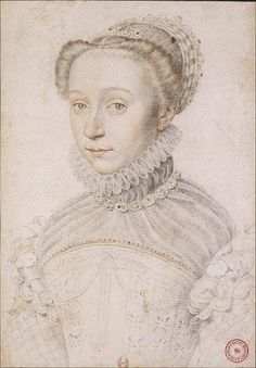 ELISABETH ISABEL DE VALOIS ?. MUSEUM DATA:  Francois Clouet, 1559, location: BNF France. 3rd wife of King Philip II of Spain. Portrait executed at French court, not in Spain. Oldest daughter of King Henri II of France and Catherine de Médicis.  Owner BNF states it is the image of Elisabeth, but the the blue eyes lead me to wonder if this is a picture of her sister Claude de France duchesse de Lorraine instead.