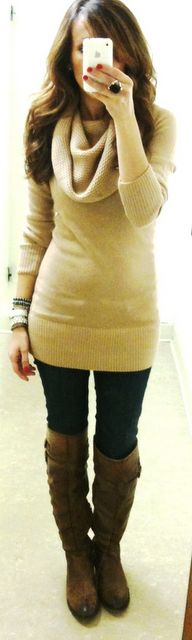 love this cowl neck sweater with leggings and boots