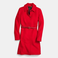 Love this minimalist wool trench in a not-shy red.