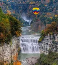 """Letchworth State Park, NY renowned as the """"Grand Canyon of the East,"""" is one of the most scenically magnificent areas in the eastern U.S. The Genesee River roars through the gorge over three major waterfalls between cliffs--as high as 600 feet in some places--surrounded by lush forests. Hikers can choose among 66 miles of hiking trailsl"""