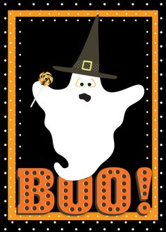 Adorable ghost Halloween card made with CraftStudio.