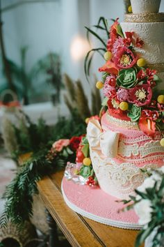 Elaborate Flowers + Lace Wedding Cake! by AWishAndaWhisk.com --   See the wedding on SMP: http://www.StyleMePretty.com/2014/06/02/rustic-california-celebration-layered-with-pink/  - Photography: SargeantCreative.com