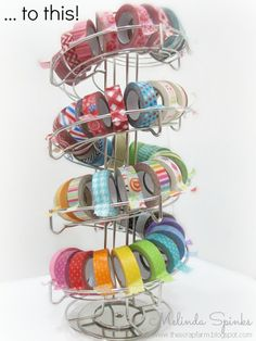 Washi Tape Storage.... this rack holds almost 70 rolls!
