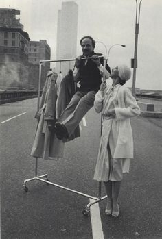 John Anthony and Pat Cleveland on the West Side Highway.  Photography by Barbara Walz.