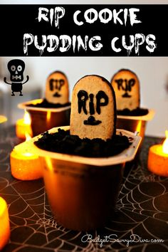 RIP Cookie Pudding Cups Recipe holiday, super simpl, halloween parties, halloween kids food, halloween treats recipes, cooki pud, pud cup, autumn falls, halloween foods