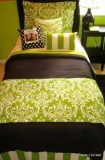 lime and black damask dorm room bedding